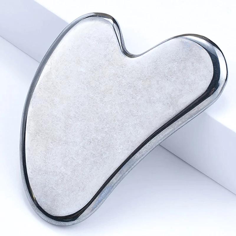 Hartvorm terahertz - Facial-Roller-Gua-Sha-Tool-Set-Natuurlijke-Terahertz-Energie-Steen-Gezichtsverzorging-Massager-Hals