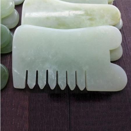 Natuurlijke Kammen Jade Guasha Facial Massage Roller Body Massager Haar Care