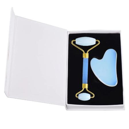 Natuurlijke Opalite Jade Roller Gua Sha Tool Set Gezicht Massage Care Tool Geschenkdoze