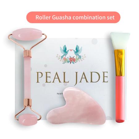 Rose Quartz Poeder Crystal Jade Roller Massage Spa Natuurlijke Roze Handgemaakte Gua Sha