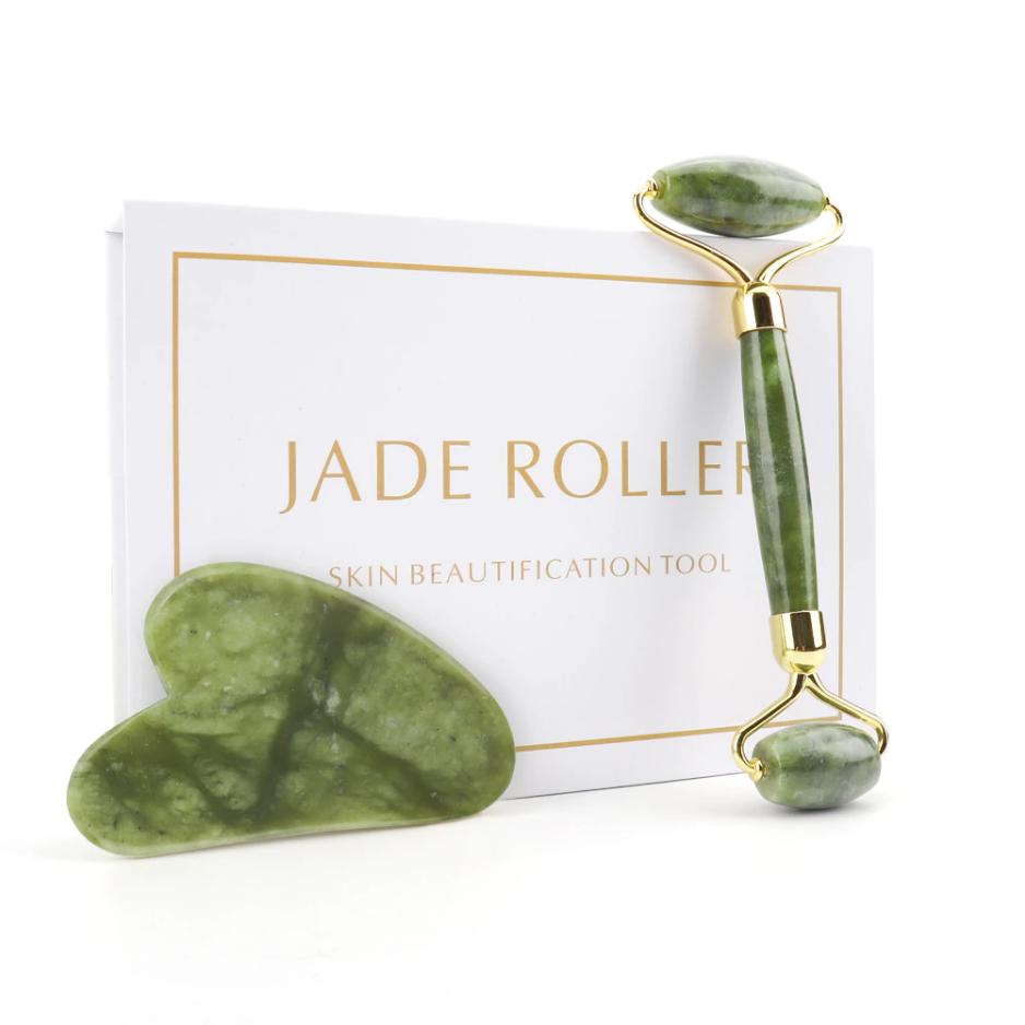 Jade-Facial-Massage-Roller-Guasha-Board-Dubbele-Hoofden-Natuurlijke-Jade-Stenen-Gezicht-Lift-Body-Huid-Ontgiften