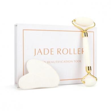 Witte-Jade-Stone-Massage-Natuurlijke-Quartz-Schraper-Jade-Roller-Gua-Sha-Set-Wit-Gezicht-Lift - rimpels - gezichtsroller - gua sha roler
