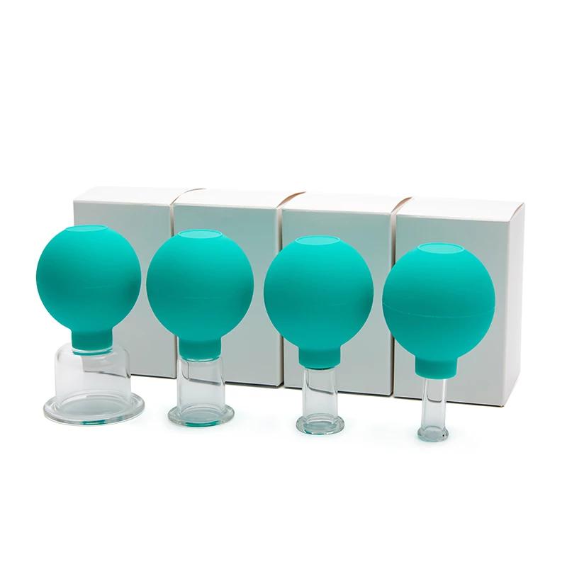 Groen set Massager-Voor-Gezicht-Rubber-Cupping-Massage-Body-Cup-Facial-Skin-Lifting-Anti-Cellulite-Zuig-Glas-Cu