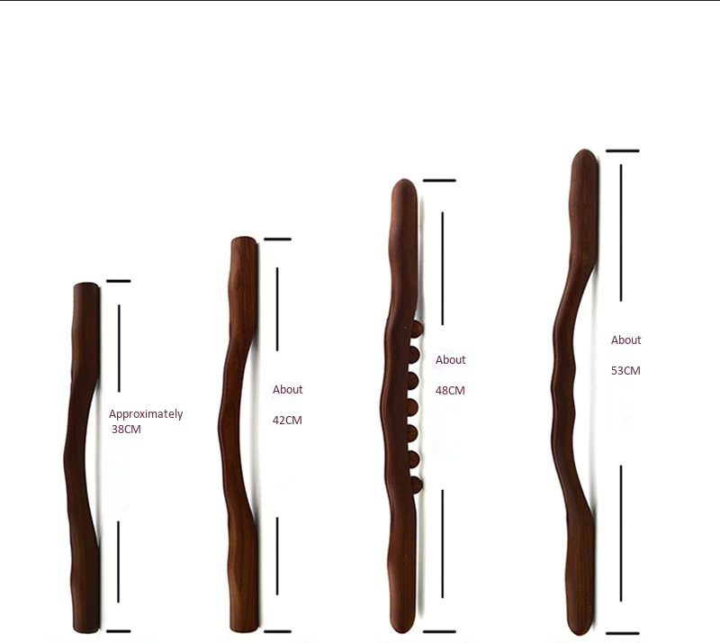 4Pcs-Schrapen-Stok-Hout-Terug-Schouder-Hals-Taille-Been-Massage-Gereedschap-Brander-Meridiaan-Brush-Gua Sha schraper - massage stok
