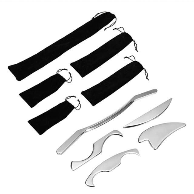 IASTM Tool set 5 oude stijl stuks Tissue-Verlichten-Gua-Sha-Tool-Spieren-Massager-Body-Ontspanning-Rvs-Soft-Tissue-Fysieke